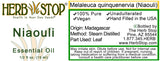 Niaouli Essential Oil Label