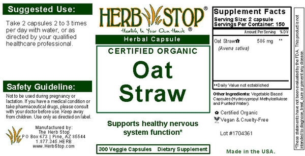 Oat Straw Capsules Label