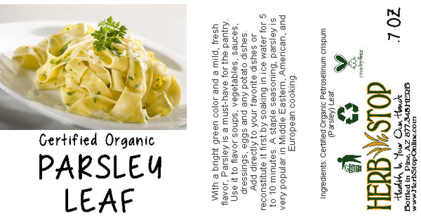 Organic Parsley Leaf Label