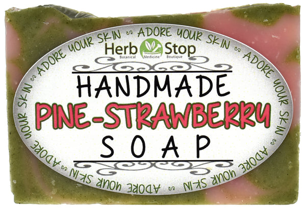 Handmade Pine-Strawberry Soap Front