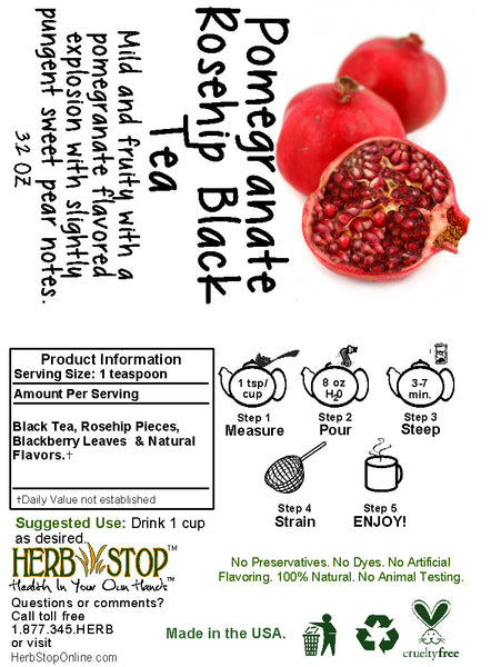 Pomegranate Rosehips Black Tea Label