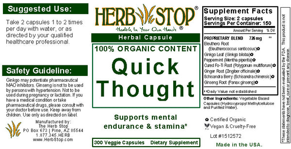 Quick Thought Capsules Label