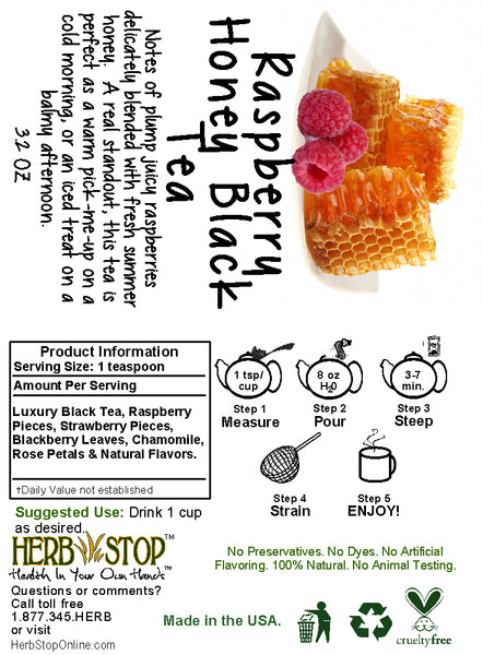 Raspberry Honey Black Tea Label
