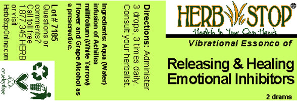 Releasing & Healing Emotional Inhibitors Essence Label