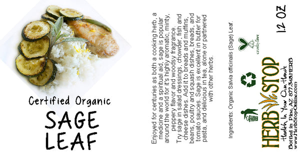Organic Sage Leaf Label