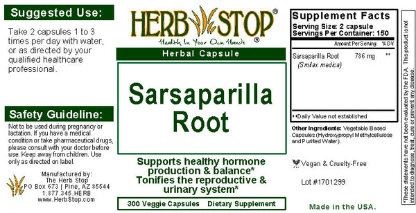 Sarsaparilla Capsules Label
