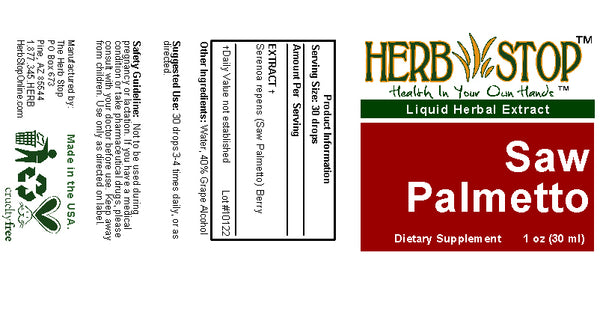 Saw Palmetto Extract Label
