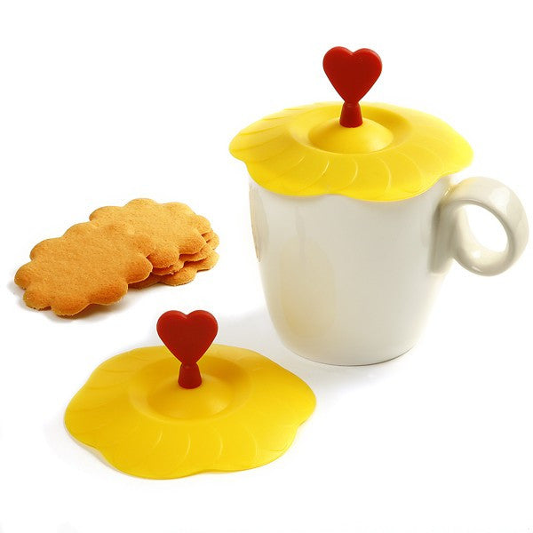 Silicone Cup Covers with Tea and Cookies