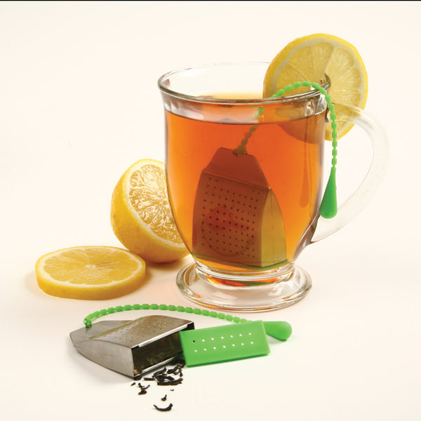 Silicone & Stainless Steel Tea Bag Infuser - In Use