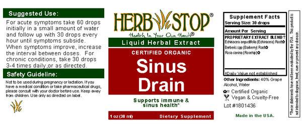 Sinus Drain Extract Label