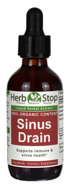 Organic Sinus Drain Extract Tincture 2 oz Bottle