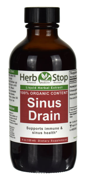 Organic Sinus Drain Extract Tincture 4 oz Bottle