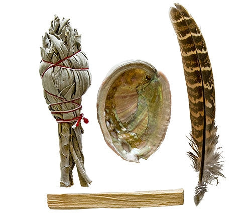 Smudging Starter Kit - Sage, Abalone, Feather and Palo Santo