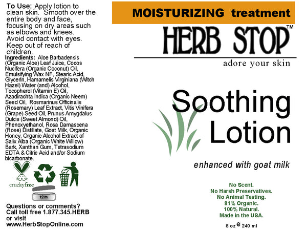 Soothing Lotion Label