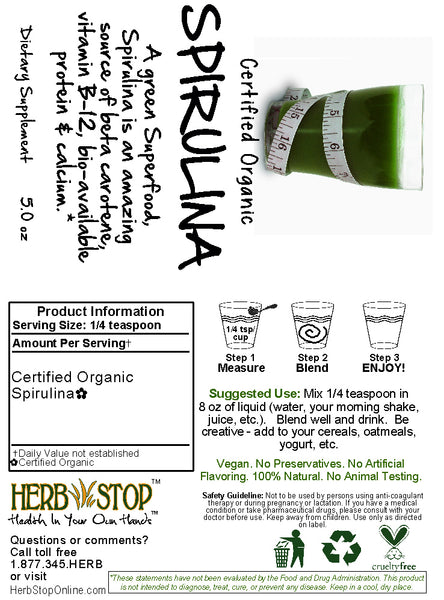 Spirulina Powder Power Shake Label