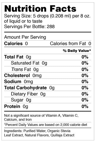 SweetLeaf Sweet Drops Stevia Clear Nutritional Facts
