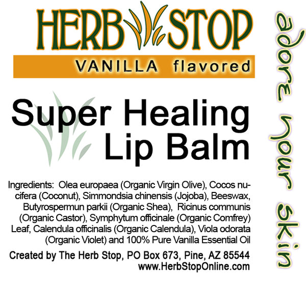 Vanilla Super Healing Lip Balm Label