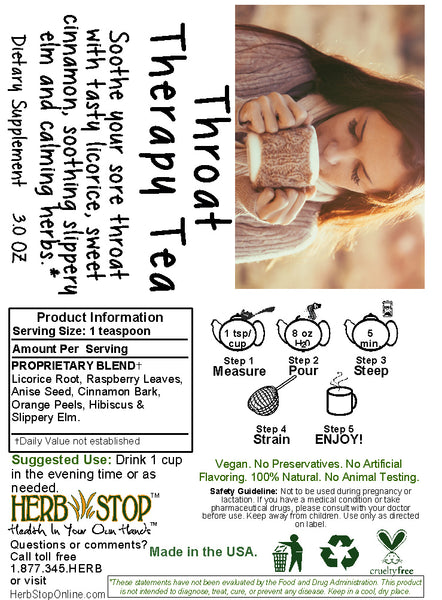 Throat Therapy Tea Label
