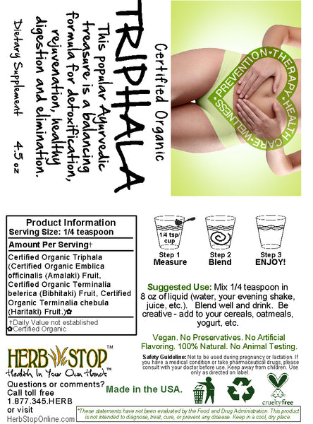 Triphala Powder Label