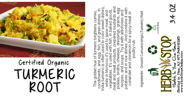 Organic Turmeric Root Label