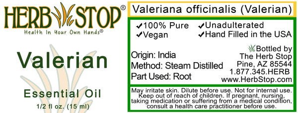Valerian Essential Oil Label