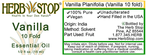 Vanilla 10 Fold Essential Oil Label