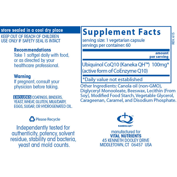 Vital Nutrients Ubiquinol CoQ10 Facts