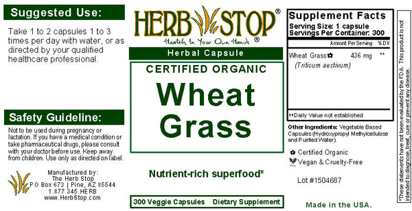 Wheatgrass Capsules Label