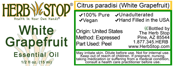 White Grapefruit Essential Oil Label