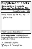 White Willow Capsules Supplement Facts