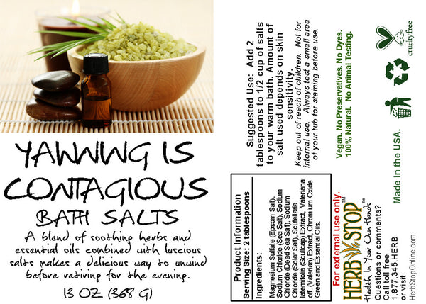 Yawning Is Contagious Bath Salts Label