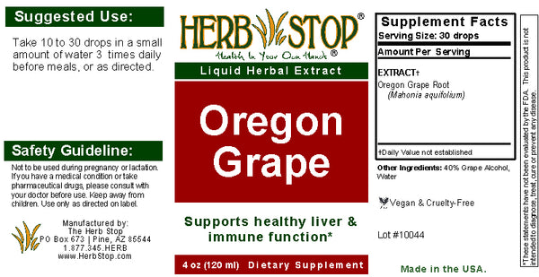 Oregon Grape Extract Label