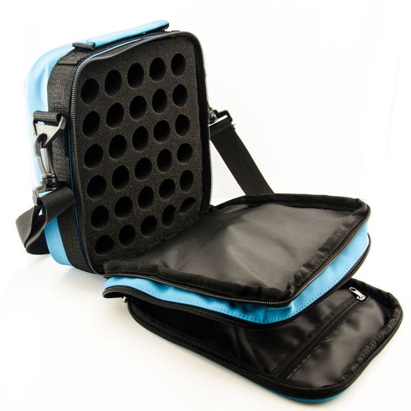 Essential Oil Travel Case with Shoulder Strap Open
