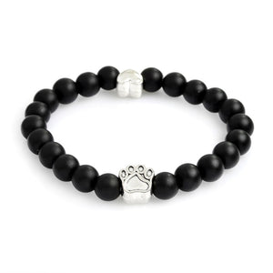 Paw Heart Natural Stone Bead Bracelets Flexible band