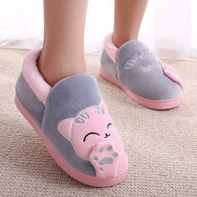Load image into Gallery viewer, Soft Warm Happy Cat Slippers