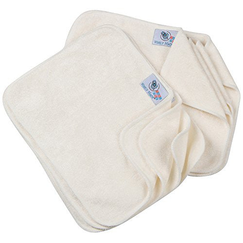 Wisely Made Set of 8 Soft White Bamboo Reusable Cloth Baby Wipes with 1 oz All Natural Baby Wipe Solution