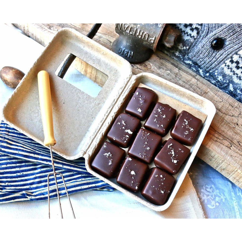 Dark Chocolate Covered Salted Caramels - 9 Piece Gift Box