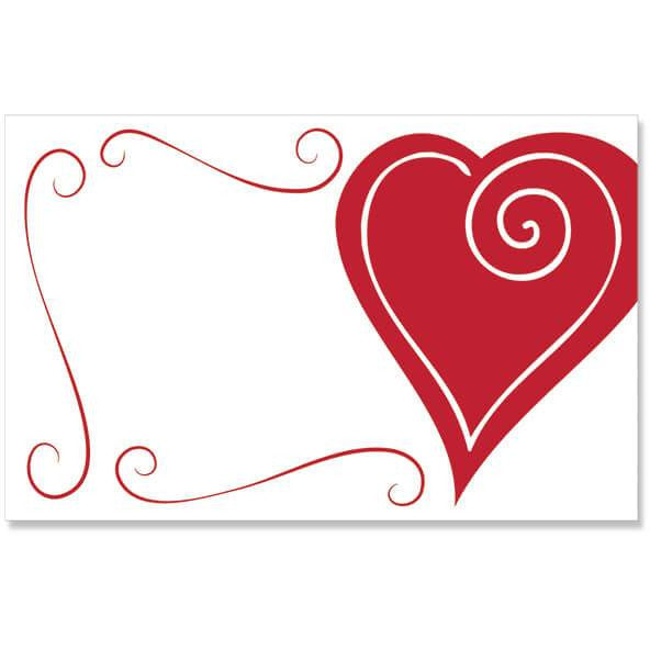 Red Heart Swirl Enclosure Card