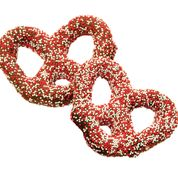 Dark Chocolate Red & White Nonpareils Pretzel