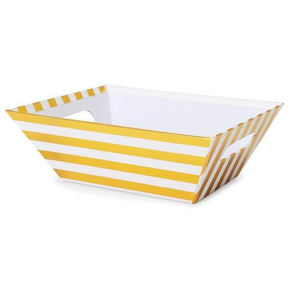 Metallic Gold Stripe Gift Basket Tray - ZaZoLi