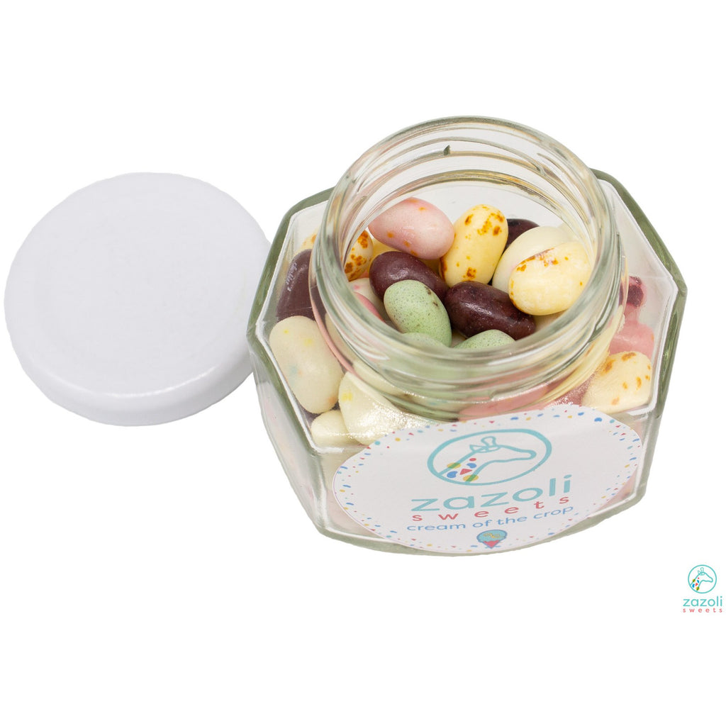3.75 oz Oval Hexagon Glass Jar with White Lid