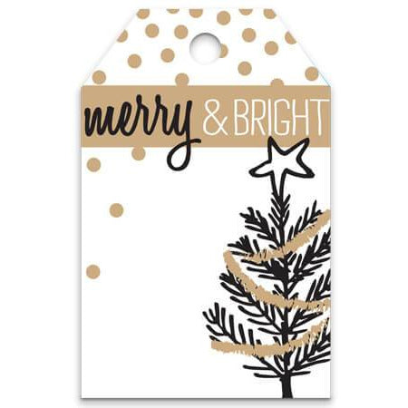 Golden Trees Metallic Merry & Bright Gift Tag - ZaZoLi