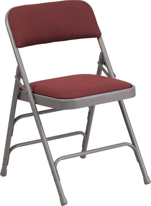 (LOTS of 16) Flash Furniture AW-MC309AF-BG-GG HERCULES Series Curved Triple Braced & Double-Hinged Burgundy Patterned Fabric Metal Folding Chair