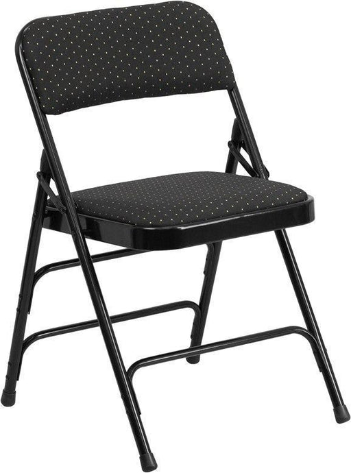 (LOTS of 16) Flash Furniture AW-MC309AF-BLK-GG HERCULES Series Curved Triple Braced & Double-Hinged Black Patterned Fabric Metal Folding Chair