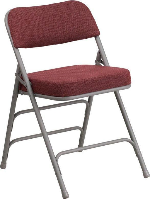 (LOTS of 16) Flash Furniture AW-MC320AF-BG-GG HERCULES Series Premium Curved Triple Braced & Double-Hinged Burgundy Fabric Metal Folding Chair