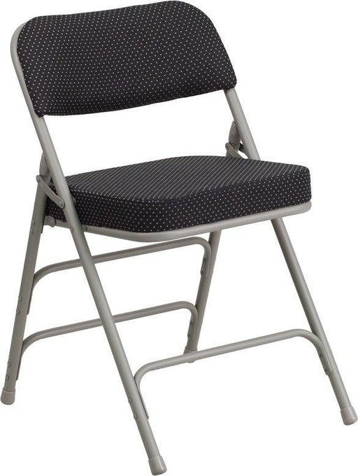 (LOTS of 16) Flash Furniture AW-MC320AF-BK-GG HERCULES Series Premium Curved Triple Braced & Double-Hinged Black Pin-Dot Fabric Metal Folding Chair