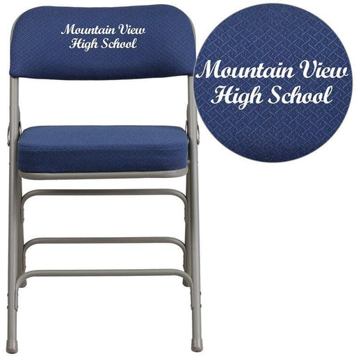 (LOTS of 16) Flash Furniture AW-MC320AF-NVY-EMB-GG Embroidered HERCULES Series Premium Curved Triple Braced & Double-Hinged Navy Fabric Metal Folding Chair