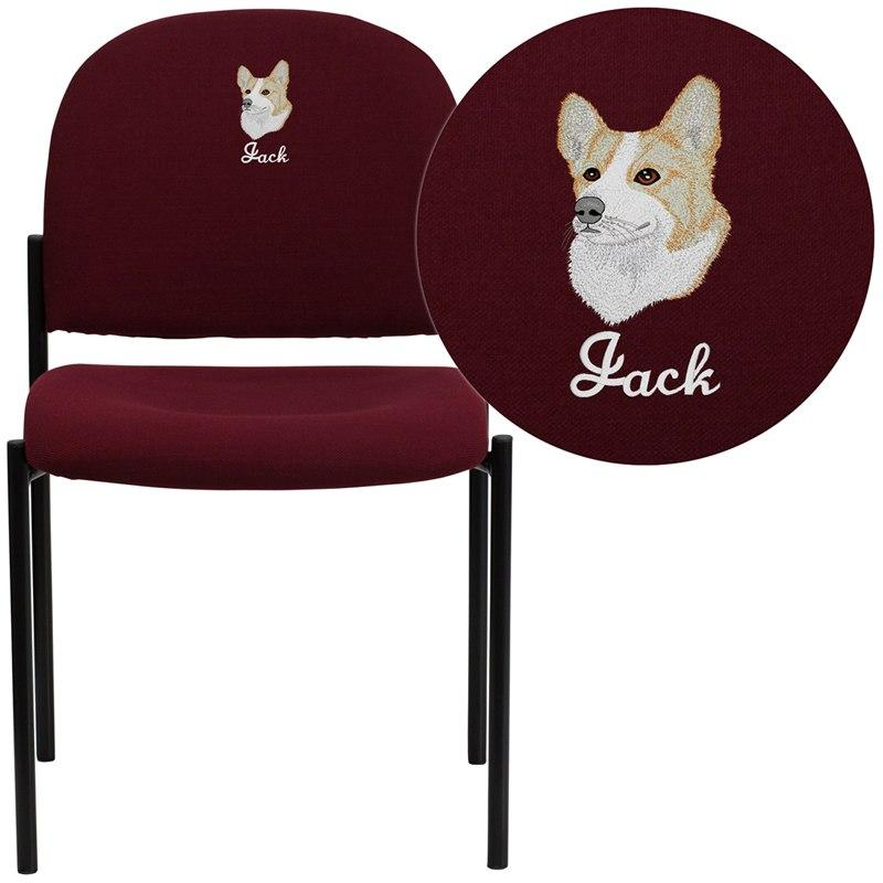 Flash Furniture BT-515-1-BY-EMB-GG Embroidered Comfort Burgundy Fabric Stackable Steel Side Reception Chair