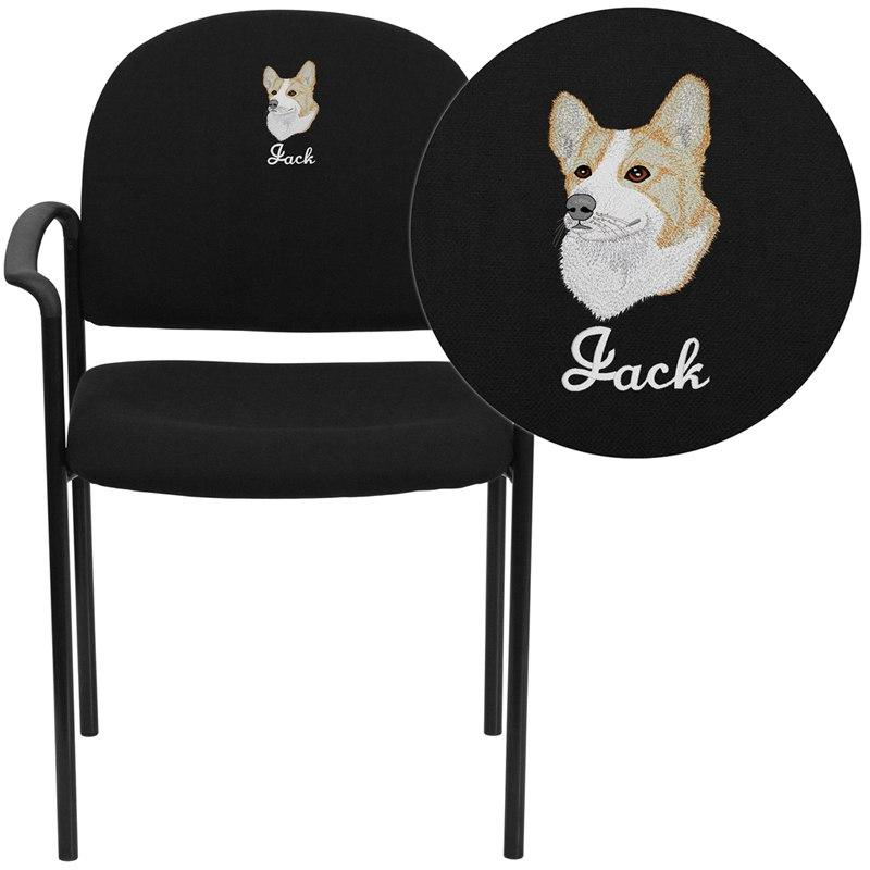 Flash Furniture BT-516-1-BK-EMB-GG Embroidered Comfort Black Fabric Stackable Steel Side Reception Chair with Arms