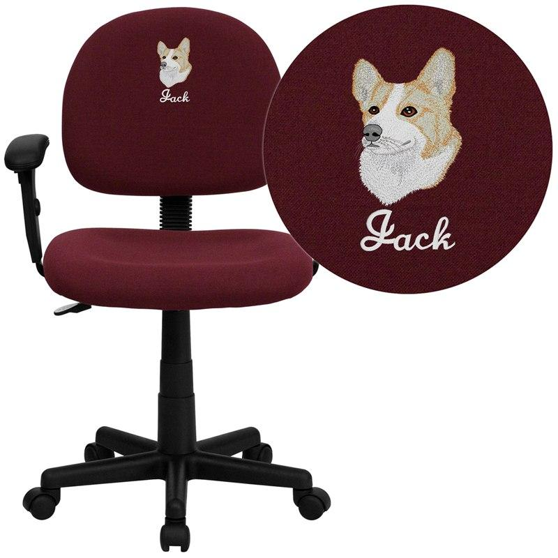 Flash Furniture BT-660-1-BY-EMB-GG Embroidered Mid-Back Burgundy Fabric Swivel Task Chair with Adjustable Arms